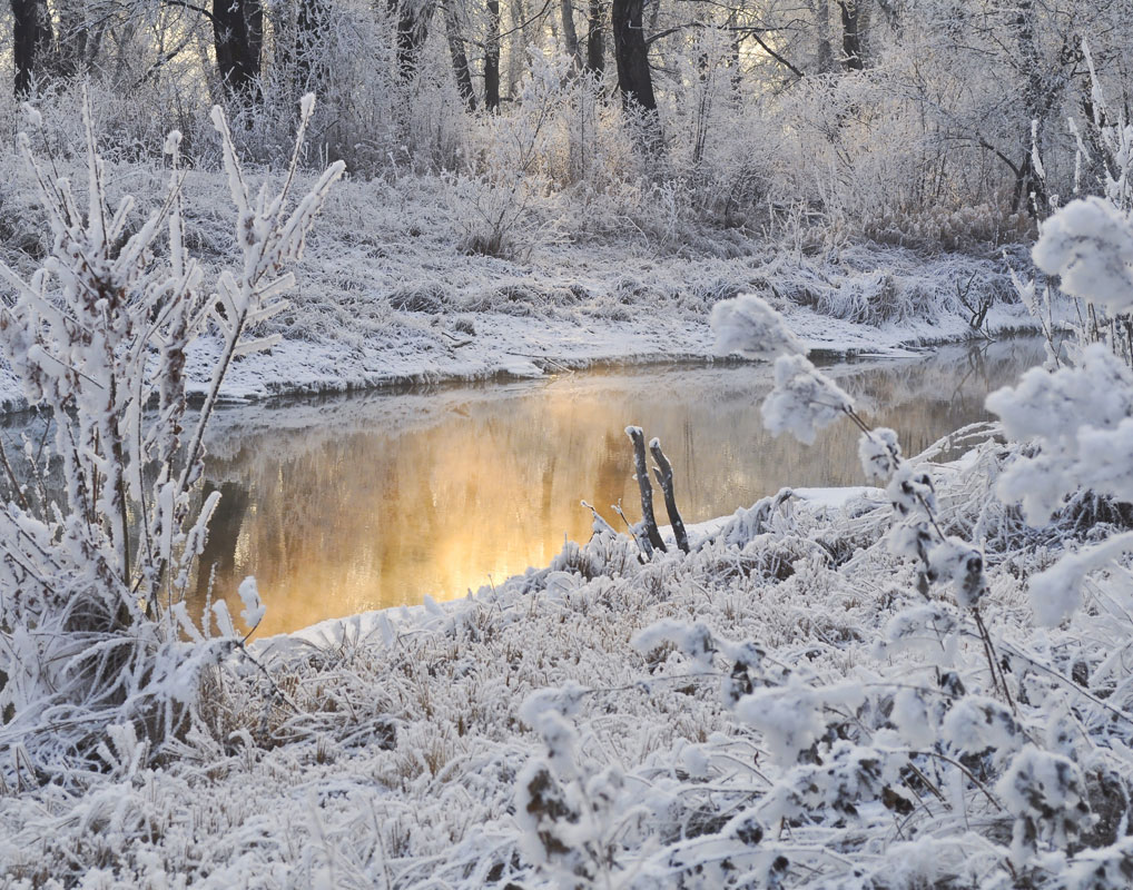 Picture Winter River Sunset